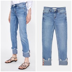 NWT Zara Rolled Up Pearl Jeans